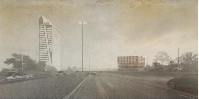 Een eerste schets van het gebouw, gezien van op de snelweg