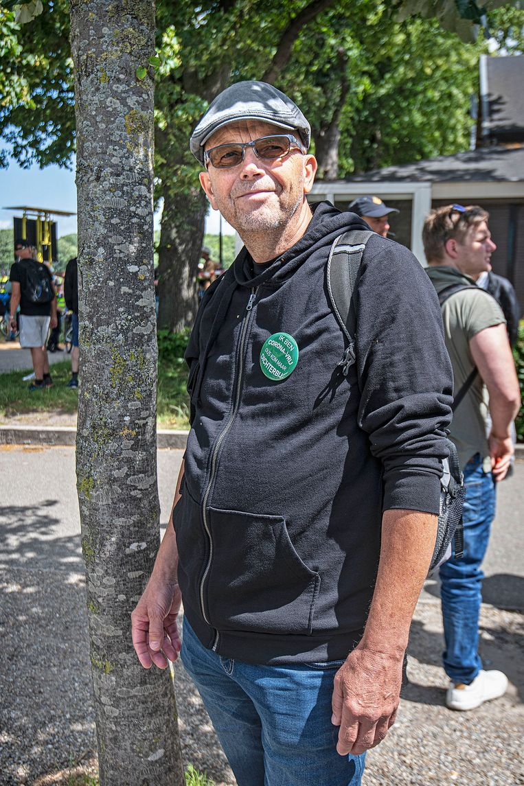 Johan op het Malieveld in Den Haag.  Beeld  Guus Dubbelman / de Volkskrant