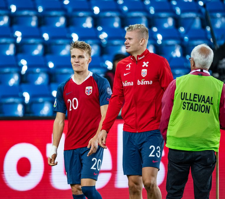 Martin Ødegaard en Erling Braut Håland bij de nationale ploeg van Noorwegen.