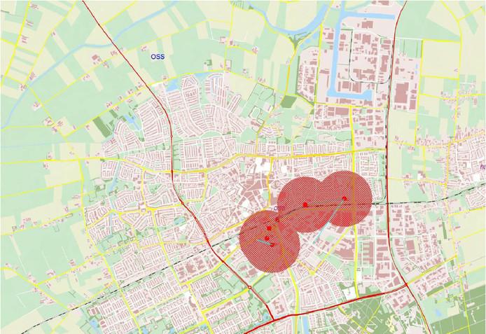 Het gebied waar huishoudens last hadden van de stroomstoring. Rond 13.30 uur was de storing opgelost.
