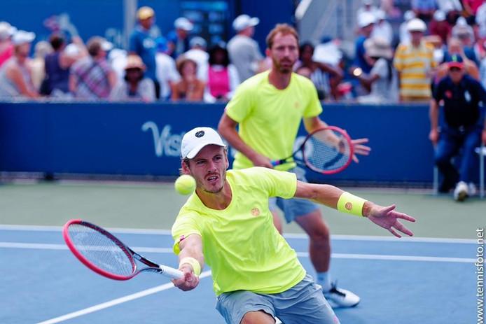 Wesley Koolhof (voor) in actie op de US Open.