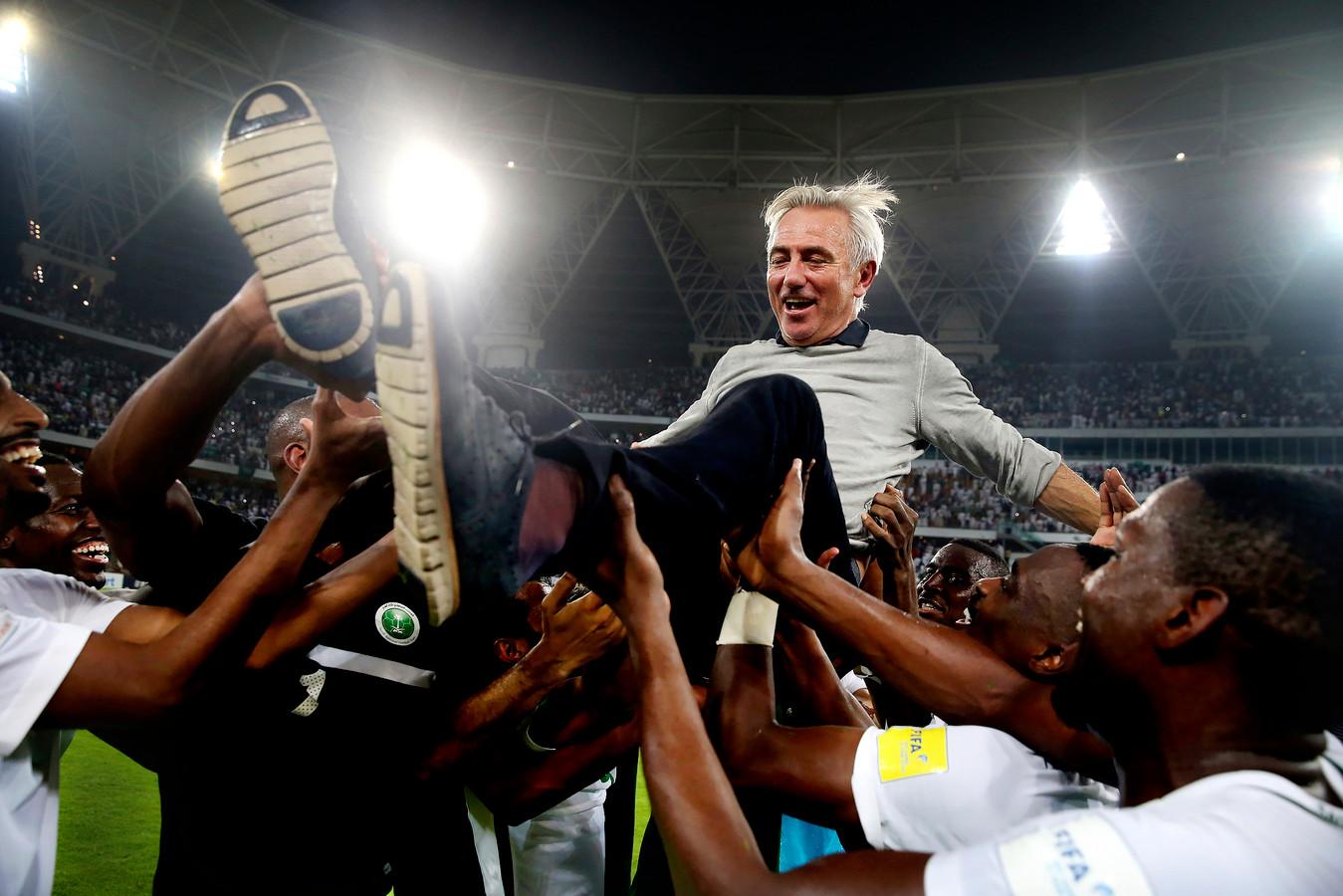 Van Marwijk is de gevierde man nadat hij zich met Saoedi-Arabië na een zege op Japan heeft geplaatst voor het WK.