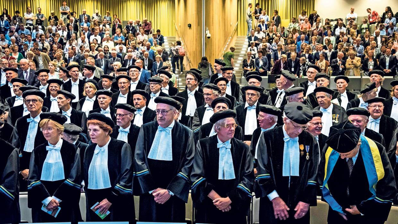 Hoogleraren bij de opening van het academisch jaar aan de Universiteit van Wageningen.  Beeld ANP