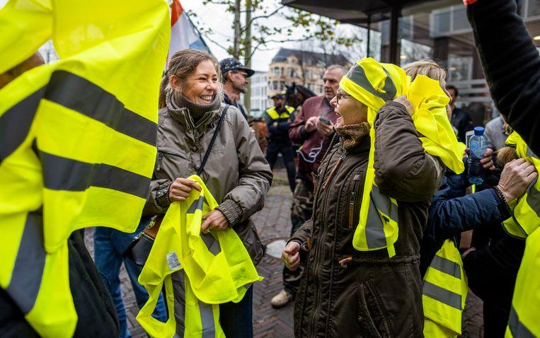 Bij de demonstratie van de gele hesjes in Den Haag vorige week ging het er vrolijk aan toe.  Beeld Freek van den Bergh