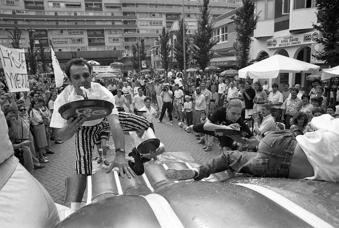 Juli 1991, ober-wedstrijden aan het Stadhuisplein. Archieffoto BeeldWerkt