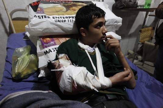 Een gewonde leerling.