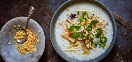 Wat Eten We Vandaag: Rijstsoep met kip, gember en gedroogde garnalen