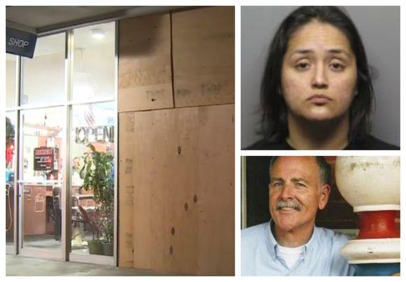 Kapper Brian Martin vloog door de winkelruit van het pand naast zijn kapperszaak. Mama Ruby Delgadillo (28) wordt opgespoord.