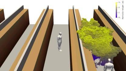 Simulatie toont hoe één hoestje supermarktklanten twee gangen verder kan besmetten