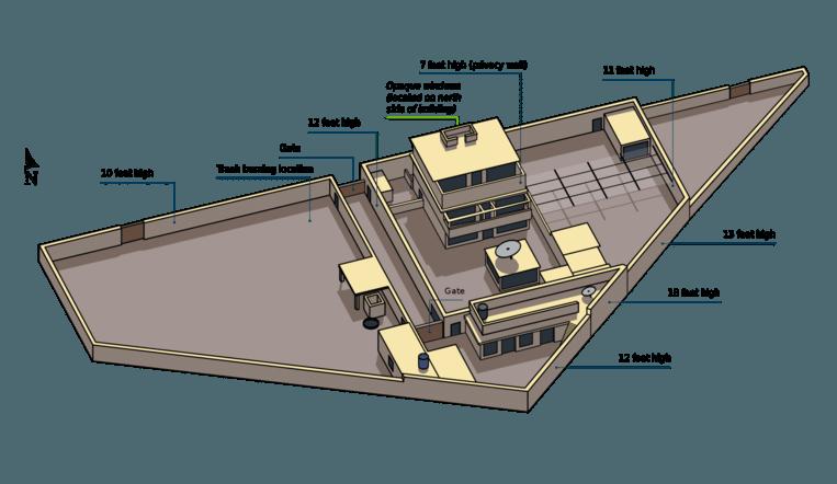 Een plattegrond van Bin Ladens huis in Abbottabad. Beeld US Department of Defense