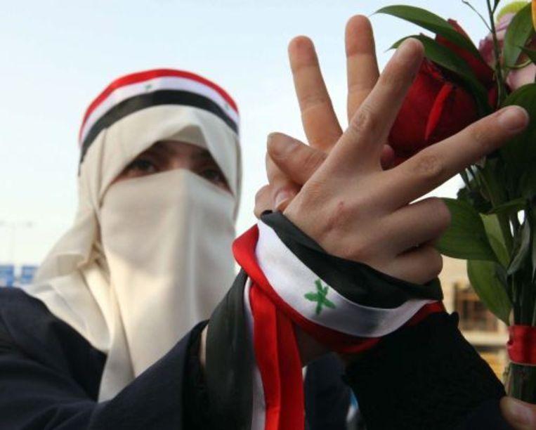 Een Syrische demonstrant. EPA Beeld