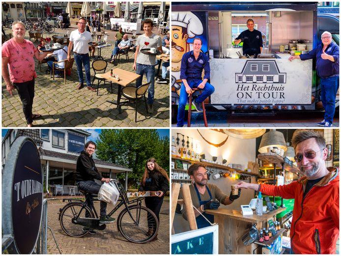 Linksboven: experimenteren met de terrasopstelling op de Markt in Gouda. Rechtsboven: Café het Rechthuis on Tour. Linksonder: Restaurant 't Raadhuys bezorgt eten thuis. Rechtsonder: De kleinste koffiezaak van Alphen doet aan coffee to go.