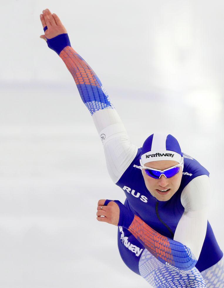 Pavel Kulizhnikov tijdens de 500 meter sprint in Heerenveen, 2019. Beeld AP