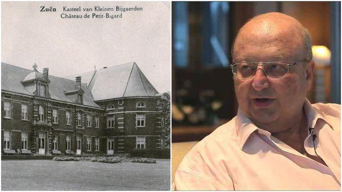 Links het Kasteel van Klein-Bijgaarden in Sint-Pieters-Leeuw toen de familie Wittouck er woonde, rechts Eric Wittouck.