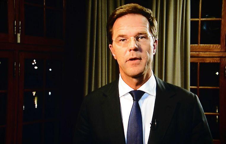 Premier Mark Rutte tijdens zijn speech nadat koningin Beatrix haar aftreden heeft aangekondigd in januari 2013. Beeld ANP- Lex van Lieshout