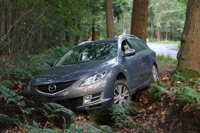 De auto belandde in de sloot, waarna de bestuurder ervandoor ging.