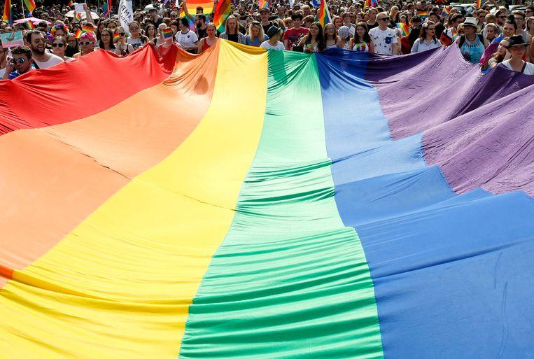 Leden van de LGBT-gemeenschap in Polen lopen een mars in Warschau. Beeld EPA