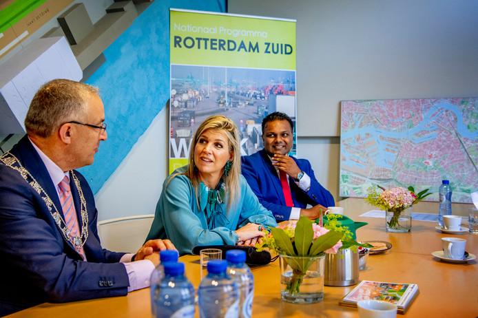 Koningin Máxima bracht vanmiddag een werkbezoek aan het Nationaal Programma Rotterdam Zuid.