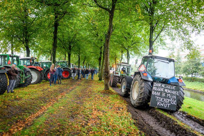 Trekkers op het Malieveld, tijdens het eerste boerenprotest, op 1 oktober.