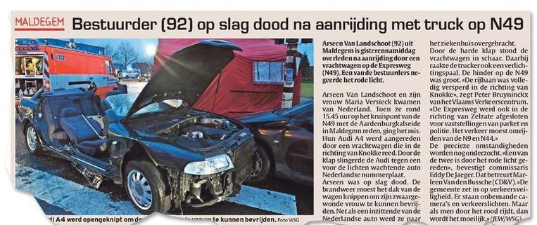 Arseen Van Landschoot een zijn vrouw Maria Versieck kwamen twee jaar geleden om het leven na een zwaar ongeval.