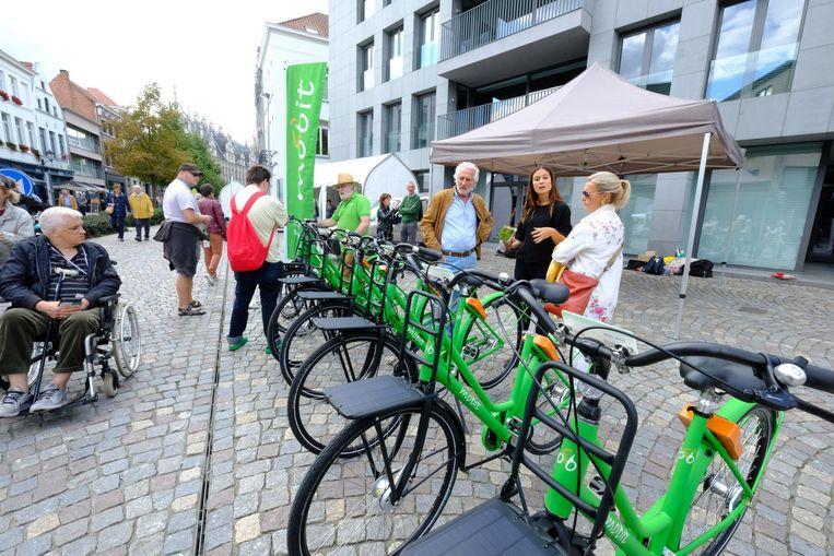 De groene fietsen van Mobit duiken al in Mechelen sinds vorig jaar in het straatbeeld op.