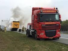 A50 bij Renkum tijd afgesloten vanwege brandende vrachtwagen