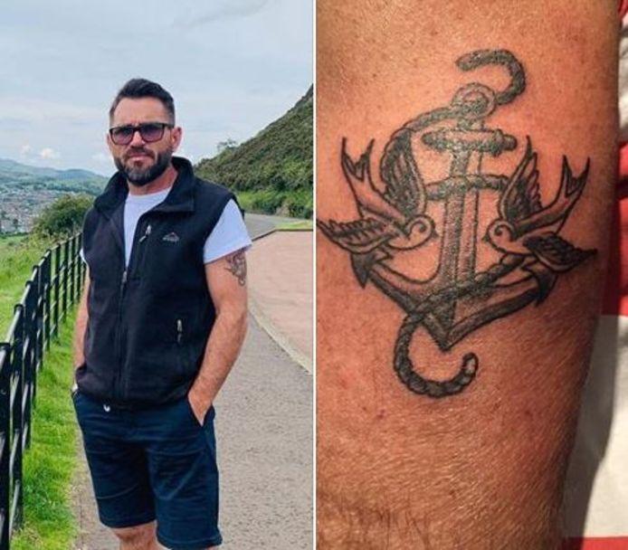 De matroos die wordt vermist (links) en zijn tatoeage (rechts)