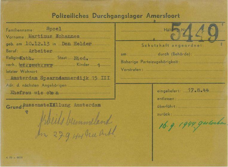 De kampkaart van Martinus Spoel met rechts in groene stift de bevestiging: 'gestorben' op 16 september 1944. Beeld Nationaal Monument Kamp Amersfoort