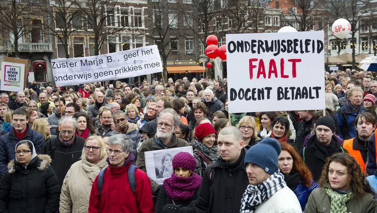Leraren in het voortgezet onderwijs staakten begin dit jaar op het Plein in Den Haag tegen de plannen van het kabinet om onder meer het aantal lesuren uit te breiden. Beeld ANP