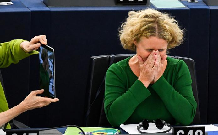 Europarlementariër Judith Sargentini na de stemming over Hongarije in het Europees parlement.