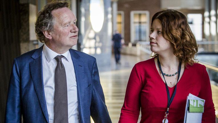 GroenLinks-fractieleider Van Ojik en Voortman na het gesprek met Van Miltenburg. Beeld Freek Van Den Bergh