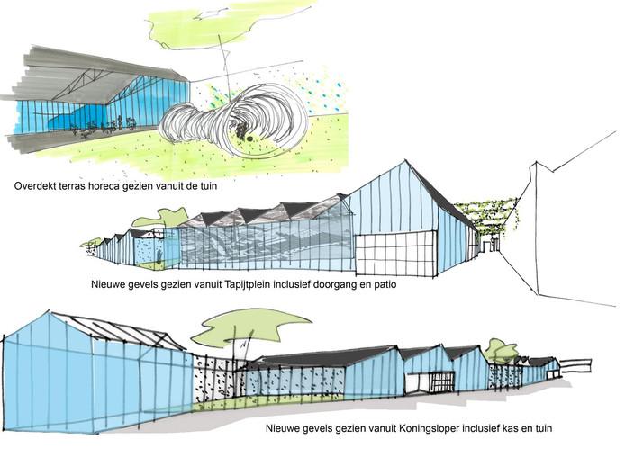 Impressie van het 'plan Vrijborg' voor de sheddaken in Oss. Glazen gevels geven het pand een open karakter.