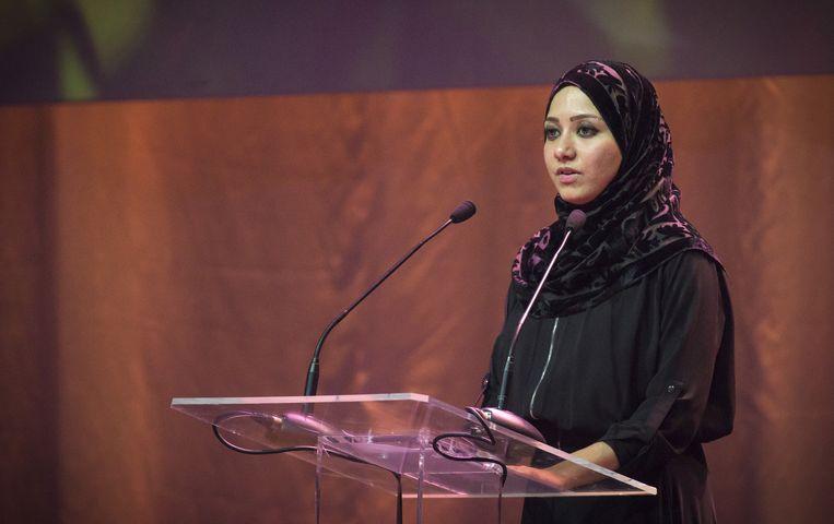 Asmaa Aljuned, de weduwe van co-piloot van Ahmad Hakimi. Beeld anp