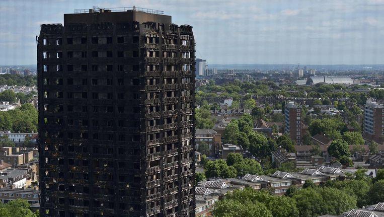 De afgebrande flat in Londen. Beeld anp