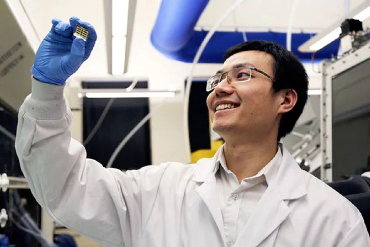 Hairen Tan toont zijn nieuwe, eenvoudig te printen zonnecel van perovskiet. Beeld University of Toronto/Kevin Soobrian