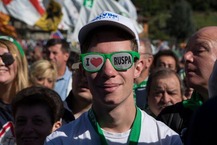 Aanhangers van de Lega Nord op een partijbijeenkomst vorige maand. De partij is initiatiefnemer van het referendum dat dit weekeinde wordt gehouden Beeld Getty Images
