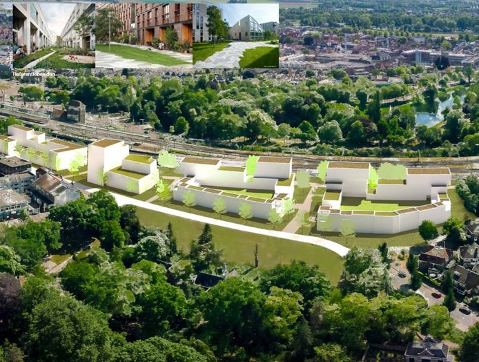 Globale schets van de mogelijkheden voor woningbouw aan de noordkant van het spoor aan de Diepenveenseweg. In dit gebied zat tot voor kort Cambio en PostNL. Grond en huidige panden zijn van NS.