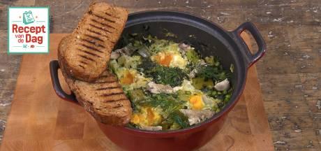 Recept van de dag: Groene shakshuka met makreel