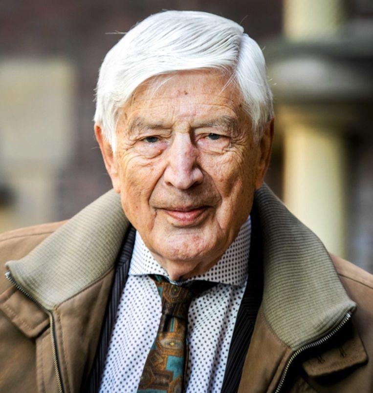 Oud-premier Dries van Agt voorafgaand aan de presentatie van zijn nieuwe boekje Palestina in doodsnood. Beeld ANP