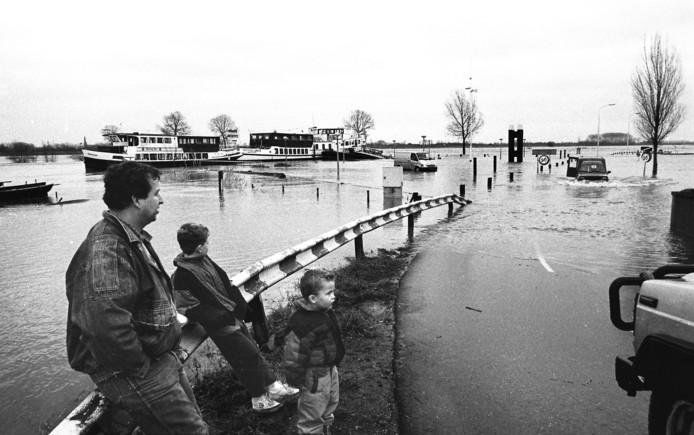 Hoogwater bij het veer in Maasbommel in januari 1995.