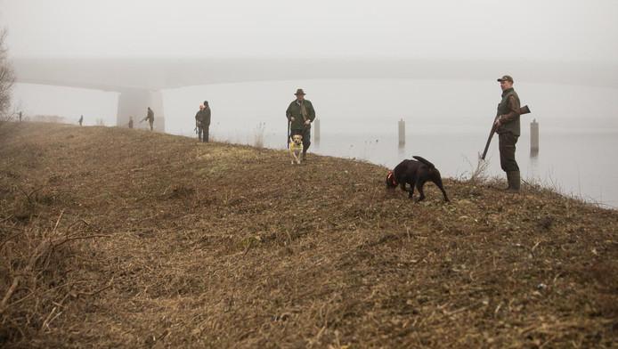 De jagers lopen over het drassige schiereiland vlak bij de Stichtse Brug.