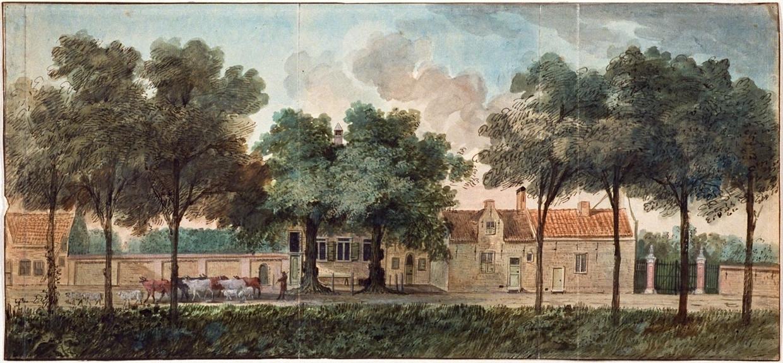 Het huis Endeldijk bij Honselersdijk. Deze buitenplaats was het middelpunt van een landgoed dat uit tuinderijen en boomgaarden bestond. Schilderij door Dionys van Nijmegen, 1790.