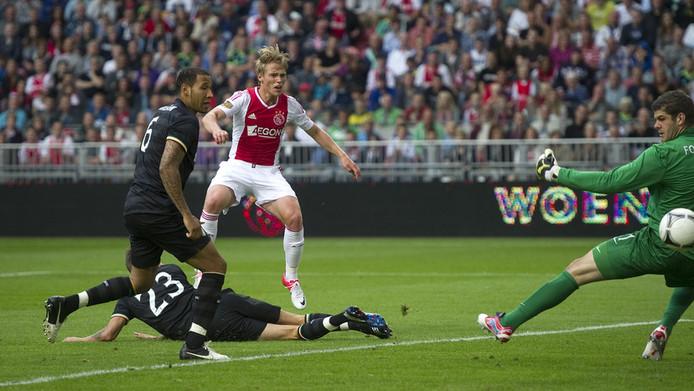 Viktor Fischer van Ajax schiet op het Schotse doel tijdens de vriendschappelijke wedstrijd tegen Celtic in de ArenA.