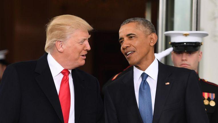 Obama en Trump vlak voor de inauguratie van Trump. Beeld AP
