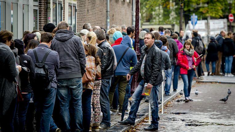 De dagelijke stroom bezoekers bij het Anne Frank Huis Beeld anp