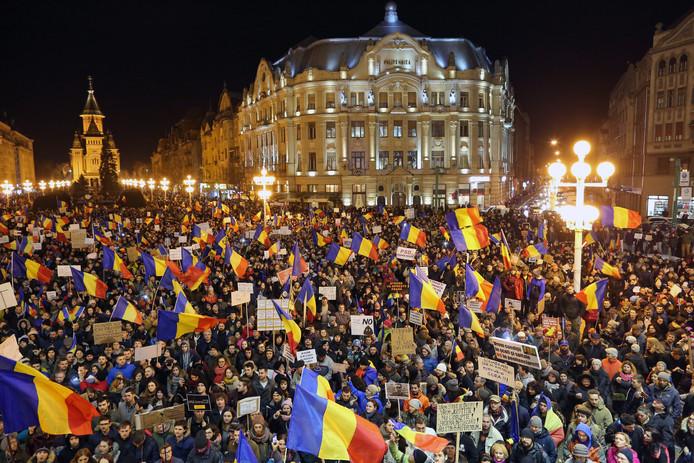 Roemenen protesteren tegen de corruptiewet