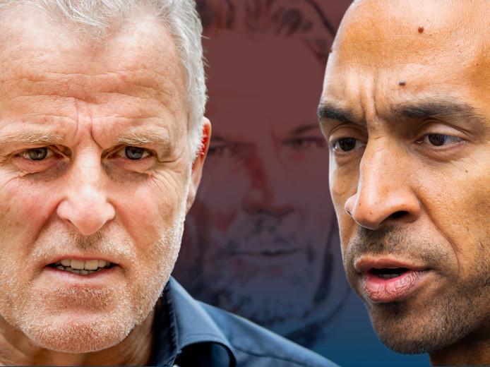 Peter R. de Vries (links) staat de familie Verstappen bij, advocaat Gerald Roethof de verdachte Jos Brech.