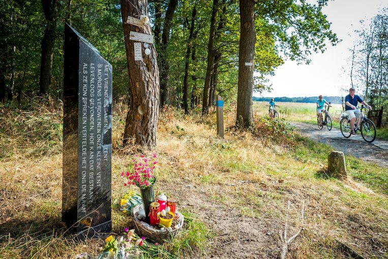 Het monumentje voor Nicky Verstappen op de Brunssummerheide. Beeld ANP