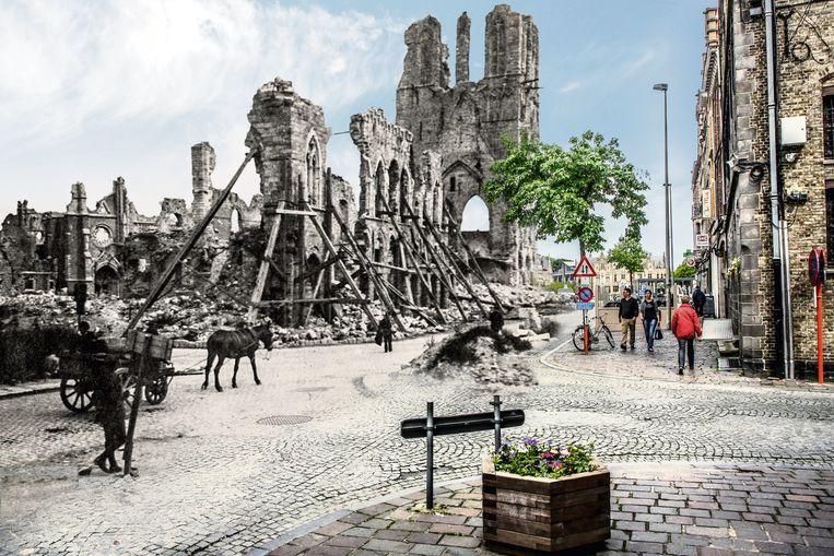 Westhoek staat volgend jaar in teken van de wederopbouw na WO I. De Lakenhalle was volledig vernield, maar werd weer helemaal heropgebouwd, zoals deze collage laat zien.
