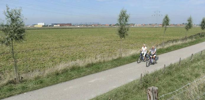 Archief: Fietsers op de Trekdijk bij Nieuw- en Sint Joosland.